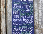 Personalized Subway Art Sign, Subway Wall Art on Wood or Metal, Custom Sign with Concert Dates, Pearl Jam, Tour Dates on Wood