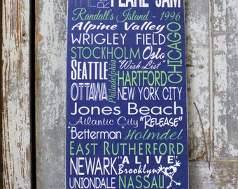 Concert Dates with  Pearl Jam, Tour Dates on Wood Personalized Subway Art Sign, Subway Wall Art on Wood or Metal, Custom Sign