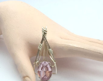 Wire Wrapped Pale Amethyst Crystal Pendant in Silver