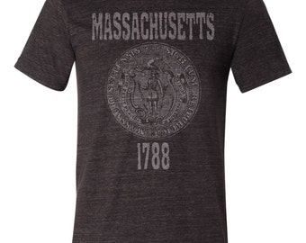 Massachusetts State Seal T-Shirt. Vintage Style Soft Retro New England Shirt Unisex Men's Slim Fit and Women's Tee