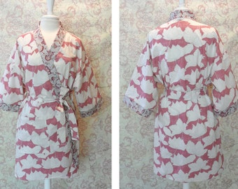 Mauve Floral Cotton Kimono Robe // Metallic Gold, Modern, Gift for Her