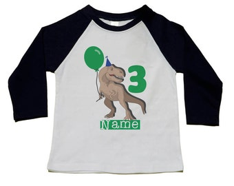 Dinosaur Birthday Shirt - 3rd Birthday T-Shirt (use your child's age or any number) - Dinosaur Birthday Party - Personalized T-Rex Shirts