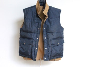Vintage Down Vest // Reversible Puffy Vest Navy and Tan // Puffer Ski Vest Mens Small Medium
