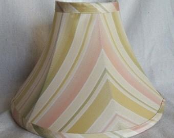 Silk Lamp Shade, Pink Green Gold Lamp Shade, Hand Made Silk Lamp Shade, Stripe Lamp Shade, Fabric Lamp Shade, Silk Shade, 4x11x7 High