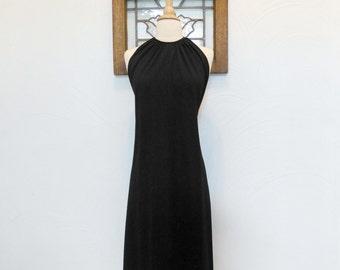 1970s Little Black Dress Vintage 70s LBD Keyhole Dress - S / M