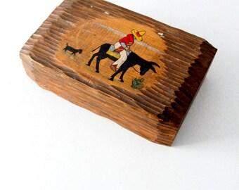 FREE SHIP 1950s Mexicana box, vintage southwestern painted wood dresser box