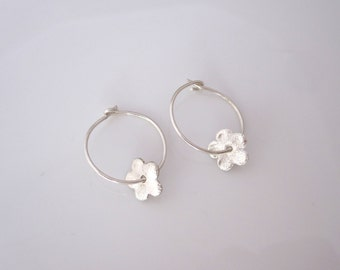 Hoops with sterling silver flower charms