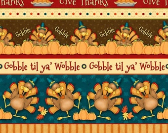 Henry Glass. Give Thanks. Novelty Stripe Multi - BTY - Choose your cut of fabric