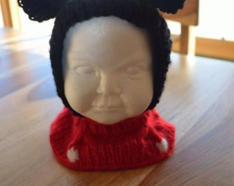 Child Knitted Mickey Mouse Hat, Coverall- Made to Order