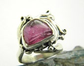 Ruby ring sterling silver, raw ruby silver ring, abstract rough ruby pink raw stone gemstone ring size 7, July birthstone cocktail ruby ring