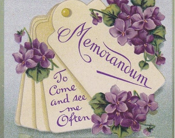 Memorandum- 1910s Antique Postcard- Lest You Forget- Write in Your Tablets- Edwardian Greeting- Violets- Flowers- B B London- Paper Ephemera