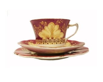 Late Victorian Bone China Trio c.1880 Unmarked Tea Cup, Saucer and Side Plate