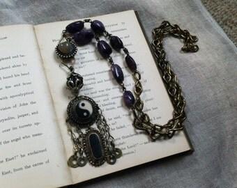SALE Handmade OOAK Necklace Beaded Long Yin And Yang Amethyst Hippie Boho Jewelry