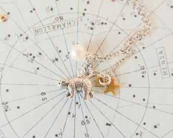 Bear Charm Necklace, Bear Pendant, Bear and Pearl Necklace, Bear and Star Jewellery, Mama Bear, Bear Necklace, Mama Bear Gift