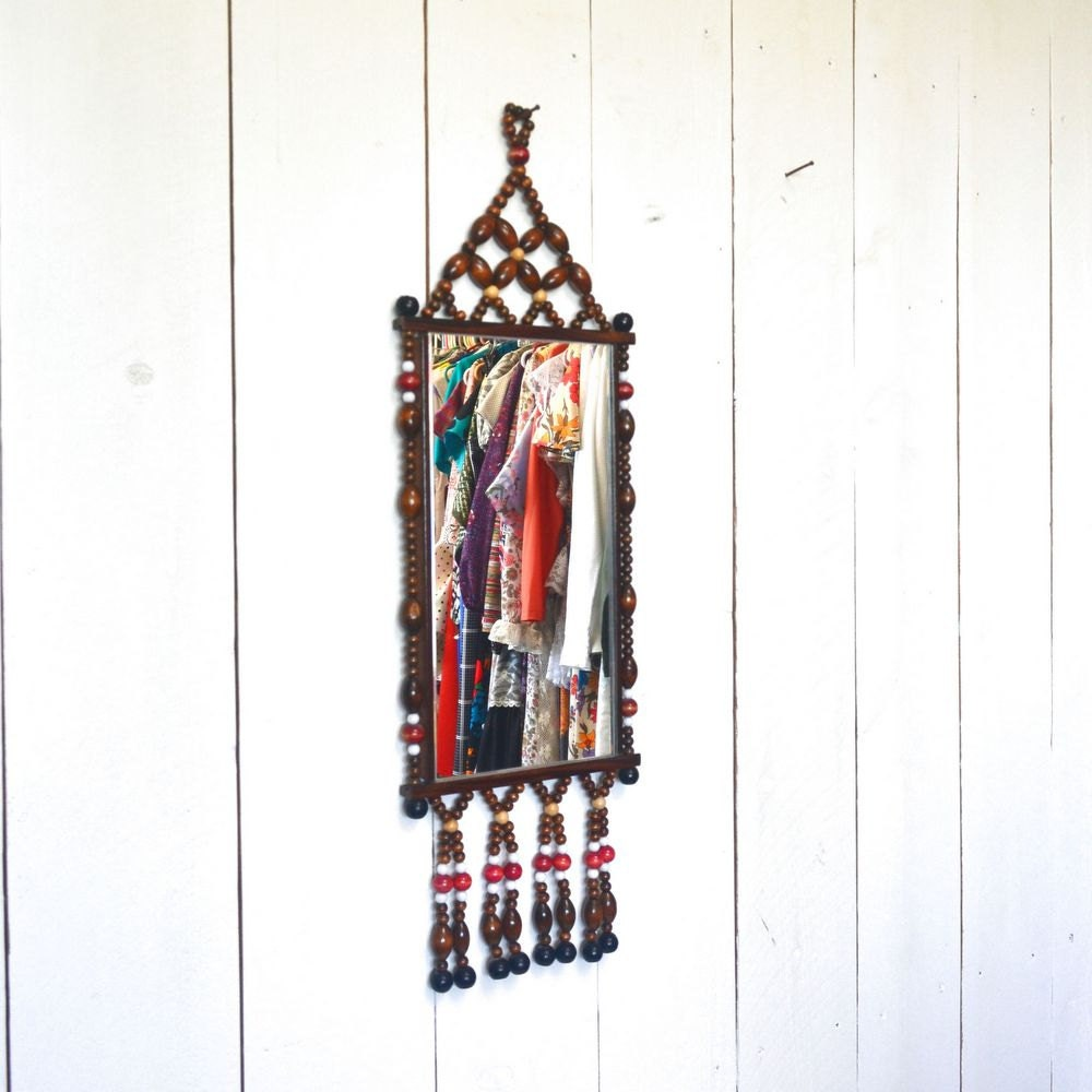 Wood Bead Mirror 1970s Vintage Hippie Boho Wall Hanging Decor