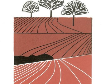 Landscape - Autumn Field Linocut - Limited Edition of Only 12 - Printmaking Art - Hand Pulled Original Print by Giuliana Lazzerini.