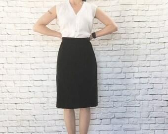 Vintage 40s 50s Black Velvet Pencil Wiggle Skirt Kickpleat XS