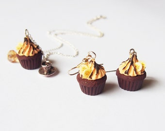 Cupcake Jewelry Set ( banana cupcake earrings miniature cupcake polymer clay jewelry dessert earrings food jewelry cupcake necklace )