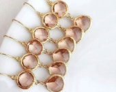 Reserved Bridal Listing for Avery -- 10% OFF SET of 5 Wedding Jewelry Gold Champagne Blush Earrings,