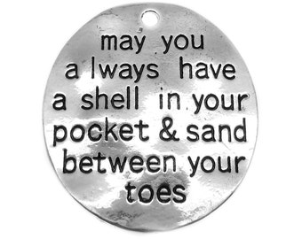 """Antique Silver Stamped """"May You Always Have a Shell in Your Pocket"""" Pendants [Choose 1 piece or 5 pieces] -- Lead & Nickel Free 21550.J5G"""