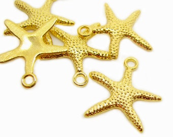 Charms : 10 Gold Starfish Charms / Gold Beach Starfish Pendants ... Lead & Cadmium Free 306.1-L9
