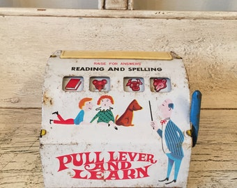 Vintage 1960's Tin See and Spell Toy - Marx - Pull Lever and Learn