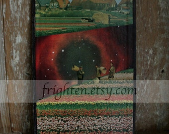 Book Cover Collage. Surreal Art, Colorful One of a Kind Paper Art with Space and Field of Tulips