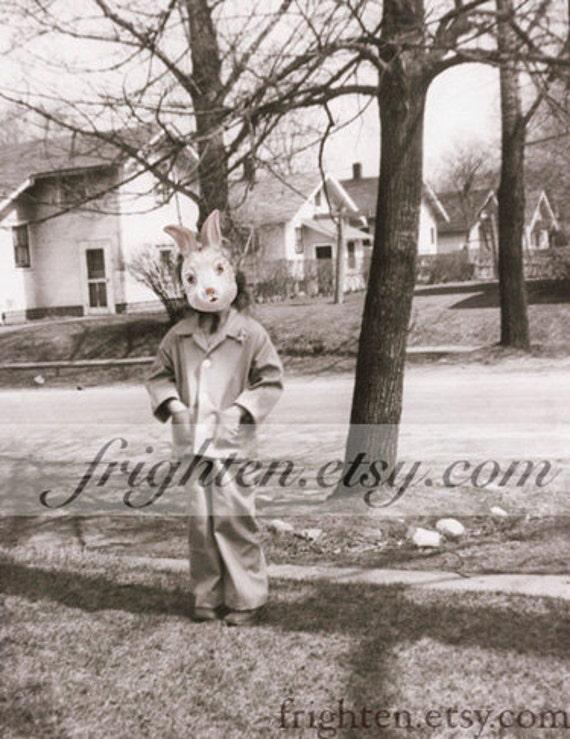 Weird Easter Art, Rabbit Mask Art, Black and White Art, Girl with Bunny Mask, Wall Art Print, Creepy Cute Art