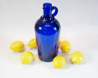 Vintage Cobalt JUG Glass Bottle HAZEL ATLAS