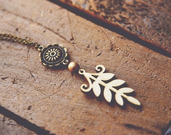 forest flower. an earthy bohemian pendant necklace.