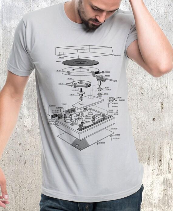 Vinyl Turntable Diagram - Men's Screen Printed T-Shirt - American Apparel