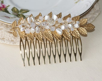 Swarovski White Opal & Genuine Pearl Golden Leaf Comb,Gold Leaf Bridal Hair Comb,Crystal,Woodland,Grecian,Rhinestone Hair Comb,Branch,Leaves