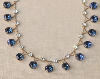NEW Swarovski Dark Sapphire Navy Blue Rhinestone Tennis Necklace,UNIQUE Link Tennis Necklace,Rhinestone Choker,Drop,Bridal,Wedding,Crystal
