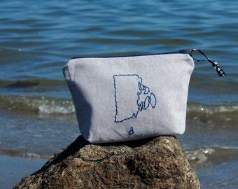 Lil Rhody Embroidered Zipper Pouch, RI Bag