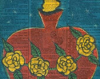 Sacred / Flaming Heart - Folk Art - Vintage Ephemera - Original Art  - Altered