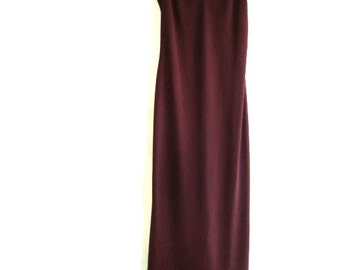 Formal, Burgundy spagetti strap , vintage gown,timelesspeony