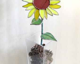Sunflower in stained glass- industrial flower- sculpture