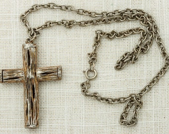 Huge Cross Pendant Necklace Vintage Etched Metal (Wood Design) Funky Christian Catholic Religious Costume Jewelry 16D