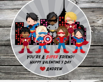 Superhero Valentine Tags, Set of 12 Personalized Favor Tags, Valentine's Day, Valentine Favors, Valentine Stickers, Classroom Valentines