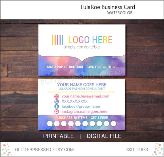 lularoe business card personalized printable by glitterpressed