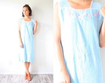 Vintage boho nightgown dress // midi dress // light blue nighty // floral boho dress // retro 60's mini dress boho gauzy small light blue