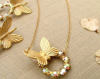 Butterfly gold necklace Dainty jewelry bridesmaid necklace Purple green pink Swarovski necklace Summer wedding, Eternity necklace gold fill