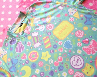 Sweet! Kawaii Pattern Sweater (Aqua) - Free UK Shipping