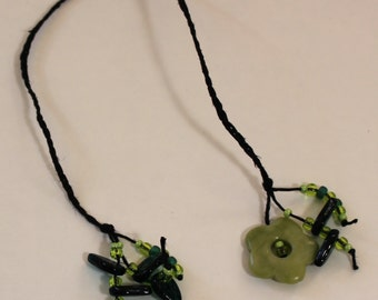 "Braided Hemp Bookmark - ""Jade"" Flower"