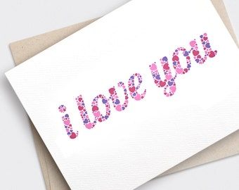 Valentine Day Card, I Love You Card - Typography Hearts - Anniversary Card Recycled Card