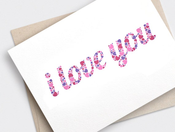 Anniversary Card, Valentine Day Card, I Love You Card - Typography Hearts - Anniversary Card Recycled Card