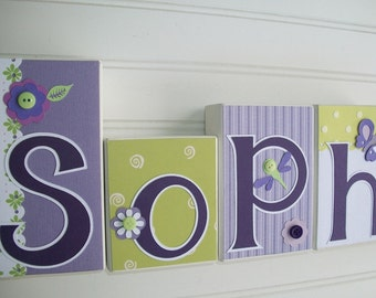 Baby Name Letters . Glenna Jean LULU. Nursery Decor . Purple Lime . Nursery Name Decor . Baby Letter Blocks . Wood Name Blocks .