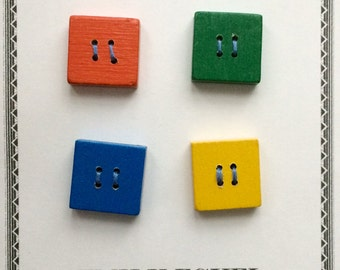 Colorful square wood buttons made from reclaimed children's blocks, one inch or 25 mm.  Perfect for clown suits.