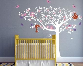 Nursery Tree Wall Decal Children Tree Decal Baby Nursery Wall Art- Nursery Floral Tree- pt0284