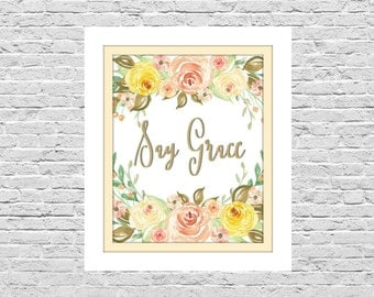 Say Grace, Watercolor Flowers, 8x10 size, Wall Decor, Instant Download, Religious, Christian Art Printable